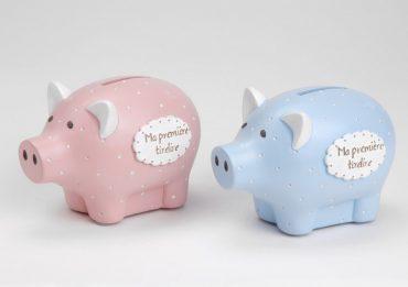 """""""Ma première tirelire cochon"""" – bleu"""