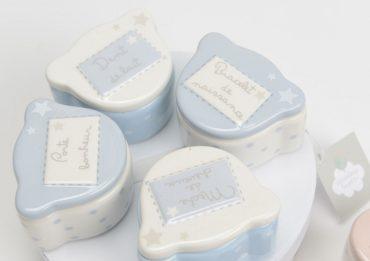 """Coffret de naissance """"Ourson"""" bleu & blanc"""