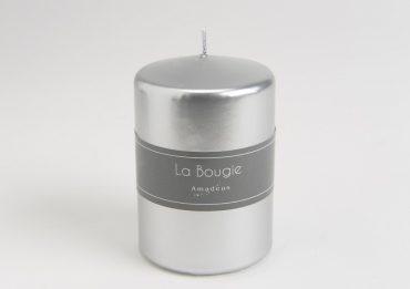 Bougie cylindre argent scintillant (Petit modèle)