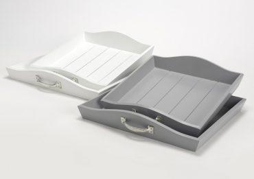 Duo de plateaux blancs avec anses (Grand et petit modèle)