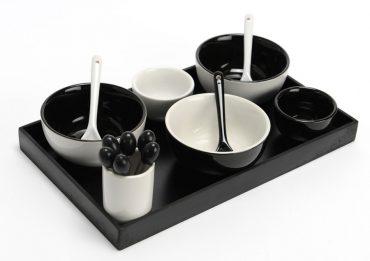 Plat à apéritifs bols Noir & Blanc