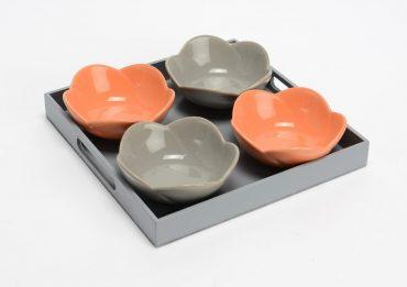 Plat à apéritifs fleurs Orange & Gris