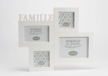 """Cadre multivues bois blanc """"Famille"""""""