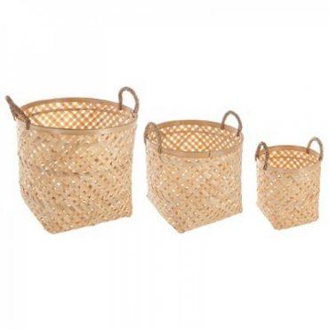 "Trio de panier beige naturel ""Bambou"""