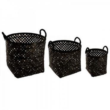 """Trio de panier noir """"Bambou"""""""