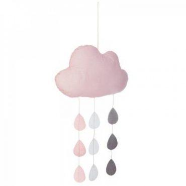 Suspension nuage et gouttes rose