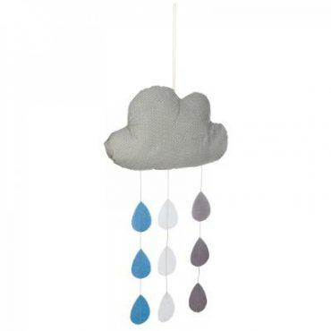 Suspension nuage et gouttes bleu et gris