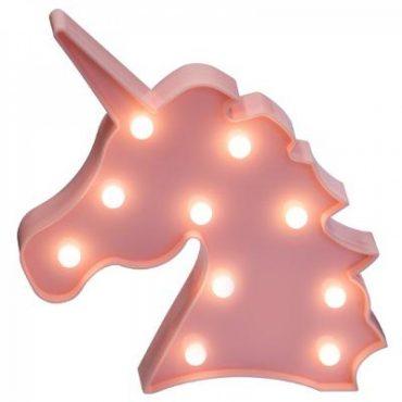Lampe Licorne rose avec led