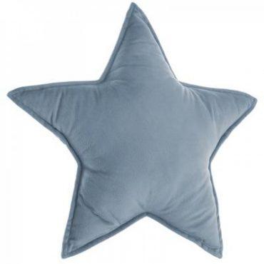Coussin Etoile bleu gris/ bleu foncé