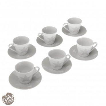 """Coffret de 6 tasses à café et sous tasses """"Etoile"""""""