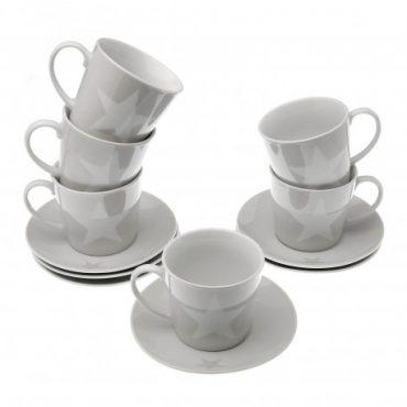 """Coffret de 6 tasses à thé et sous tasses """"Etoile"""""""