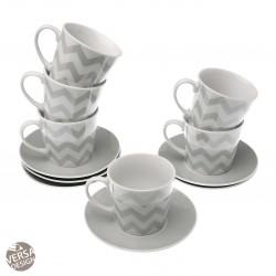 """Coffret de 6 tasses à thé et sous tasses """"Chevron"""""""
