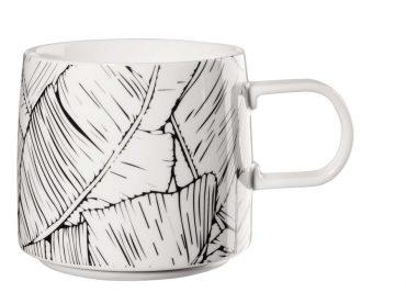 "Mug  ""Feuilles"" noir et blanc"