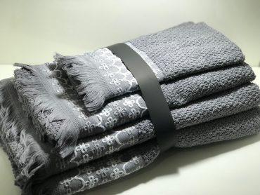 """Ensemble de serviettes de toilette pour une personne """"Pochaontas"""" gris..."""