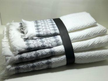 """Ensemble de serviettes de toilette pour une personne """"Pochaontas"""" blanc"""