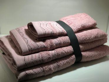 """Ensemble de serviettes de toilette pour une personne """"Wendy"""" rose..."""