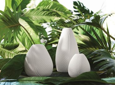 "Trio de vases blancs "" Feuilles "" Soliflore"