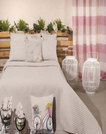 """Boutis matelassé pour lit simple """"Troia 2"""" & 1 coussin..."""