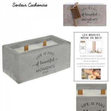 Bougie parfumée rectangulaire – En ciment et 2 mèches en...