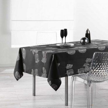 """Nappe rectangulaire """"Plume"""", noire, 150 x 240 cm"""