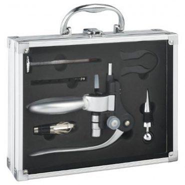 Coffret mallette de sommelier + 6 accessoires en aluminium