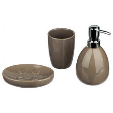 Coffret de 3 accessoires pour salle de bain taupe