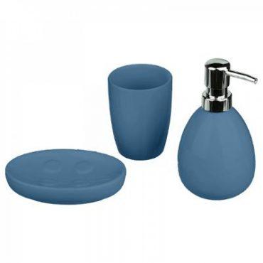Coffret de 3 accessoires pour salle de bain bleu