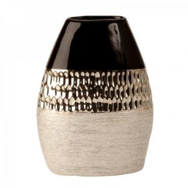 Vase moderne anthracite et argent – 21,5 cm