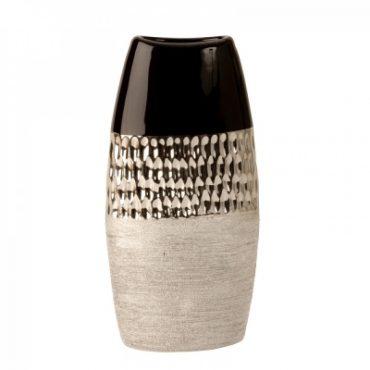 Vase moderne anthracite et argent – 25,5 cm