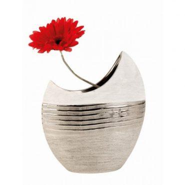 Vase lune blanc et argent – 23 cm