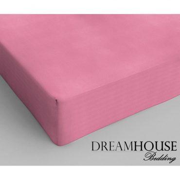 Drap housse pour lit 2 personnes en coton rose, 140...