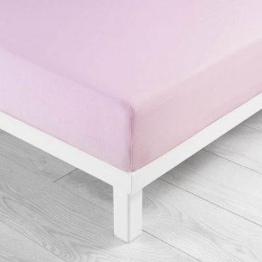 Drap housse pour lit 2 personnes en coton rose clair,...