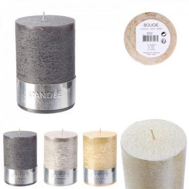 """Bougie cylindre irisé argenté """"candle"""" – Hauteur 10 cm"""