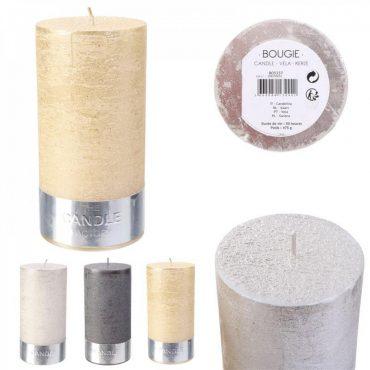 """Bougie cylindre irisé argenté """"candle"""" – Hauteur 14 cm"""