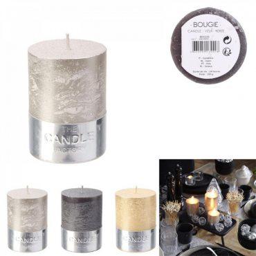 """Bougie cylindre irisé grise """"candle"""" – Hauteur 8 cm"""