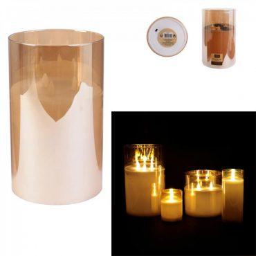 Bougie led verre ambré – 25×15 cm