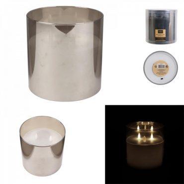 Bougie led verre gris fume – 15×15 cm