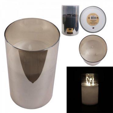 Bougie led verre gris fumé – 25×15 cm