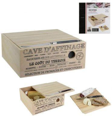 Cave a fromage  en bois avec couteau