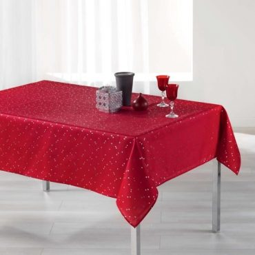 Nappe rectangle, rouge/argent en 150 x 240 cm