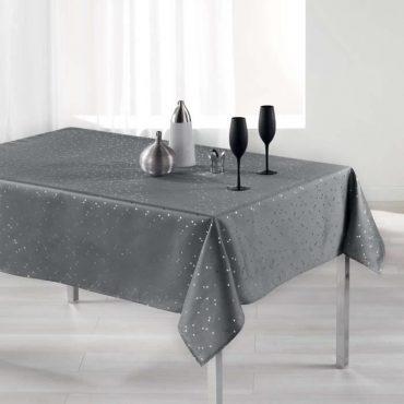 Nappe rectangle, gris/argent en 150 x 240 cm