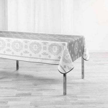 "Nappe rectangulaire ""Madelyne"" blanche et grise 150 x 240 cm"