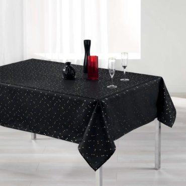 Nappe rectangle, noir/or en 150 x 240 cm