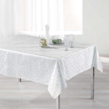 Nappe rectangle, blanc/or en 150 x 240 cm