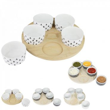 Support à apéritifs en bois avec 5 coupelles – modèle...
